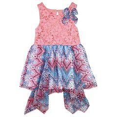 Girls 4-6x Nanette Printed Swiss Dot Chiffon Dress