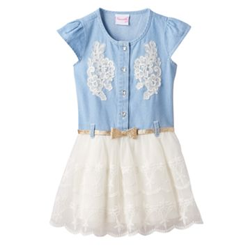 Girls 4-6x Nannette Chambray Top Tulle Skirt Dress