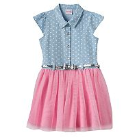 Girls 4-6x Nanette Heart Print Denim & Tulle Dress