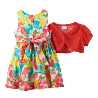 Toddler Girl Nannette Short Sleeve Crochet Lace Shrug & Swiss Dot Butterfly Dress