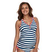 Pink Envelope Maternity Striped Tankini Swim Set