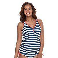 Pink Envelope Maternity Striped Tankini Swim Set