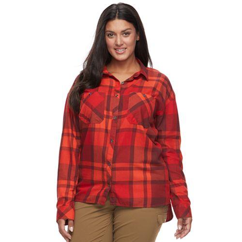 Plus Size Columbia Wildscape Flannel Plaid Roll-Tab Shirt