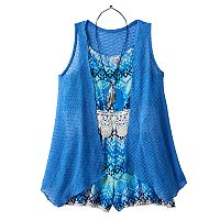 Girls 7-16 Knitworks Romper & Open Knit Duster Set with Necklace