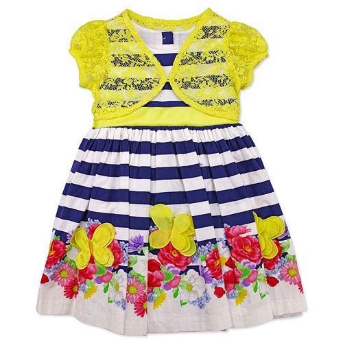 a289040f1300 Toddler Girl Nannette Lace Cardigan   Poplin Striped Flower Dress
