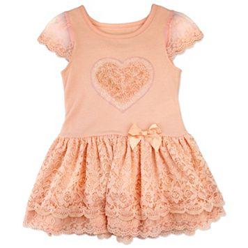 Toddler Girl Nannette Rosette Heart Lace Dress