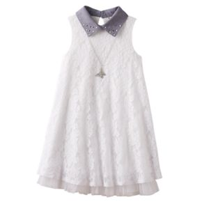 Girls 7-16 Knitworks Embellished Collar Lace Swing Dress with Necklace