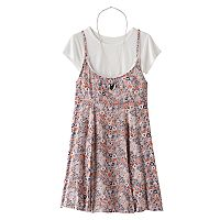 Girls 7-16 Knitworks Ribbed Crop Top & Floral Slip Dress Set with Necklace
