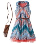 Girls 7-16 Knitworks Belted Halter Shirtdress with Crossbody Purse Set