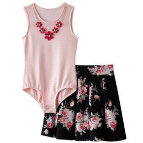 Girls 7-16 Knitworks Mesh Neckline Bodysuit & Floral Skater Skirt Set with Necklace
