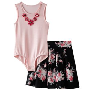Girls 7-16 Knitworks Mesh Neckline Bodysuit & Floral Skater Skirt Set with Necklace