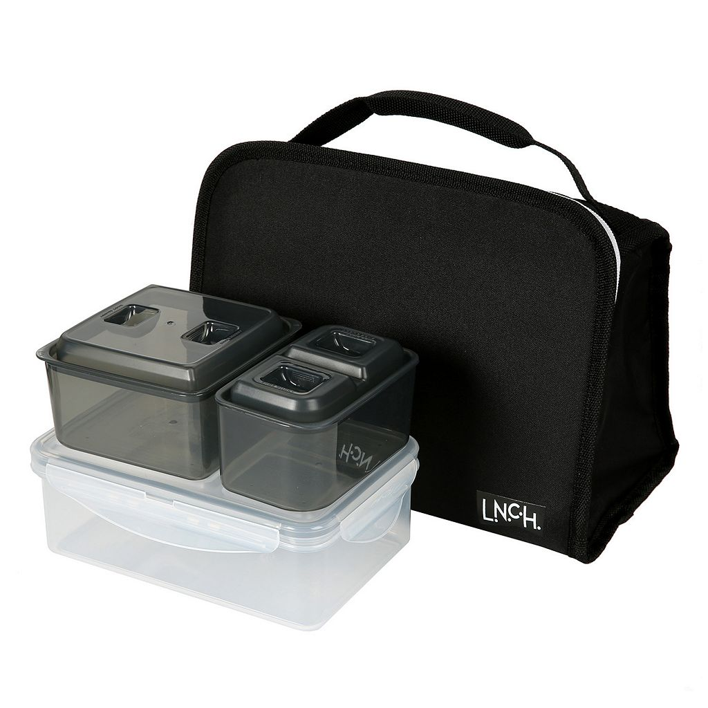 L.N.C.H. Roxy Lunch Tote with Flip Tray & Food Storage Set