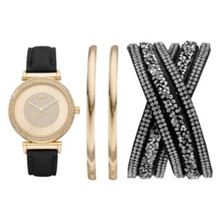 Studio Time Women's Crystal Watch & Bracelet Set