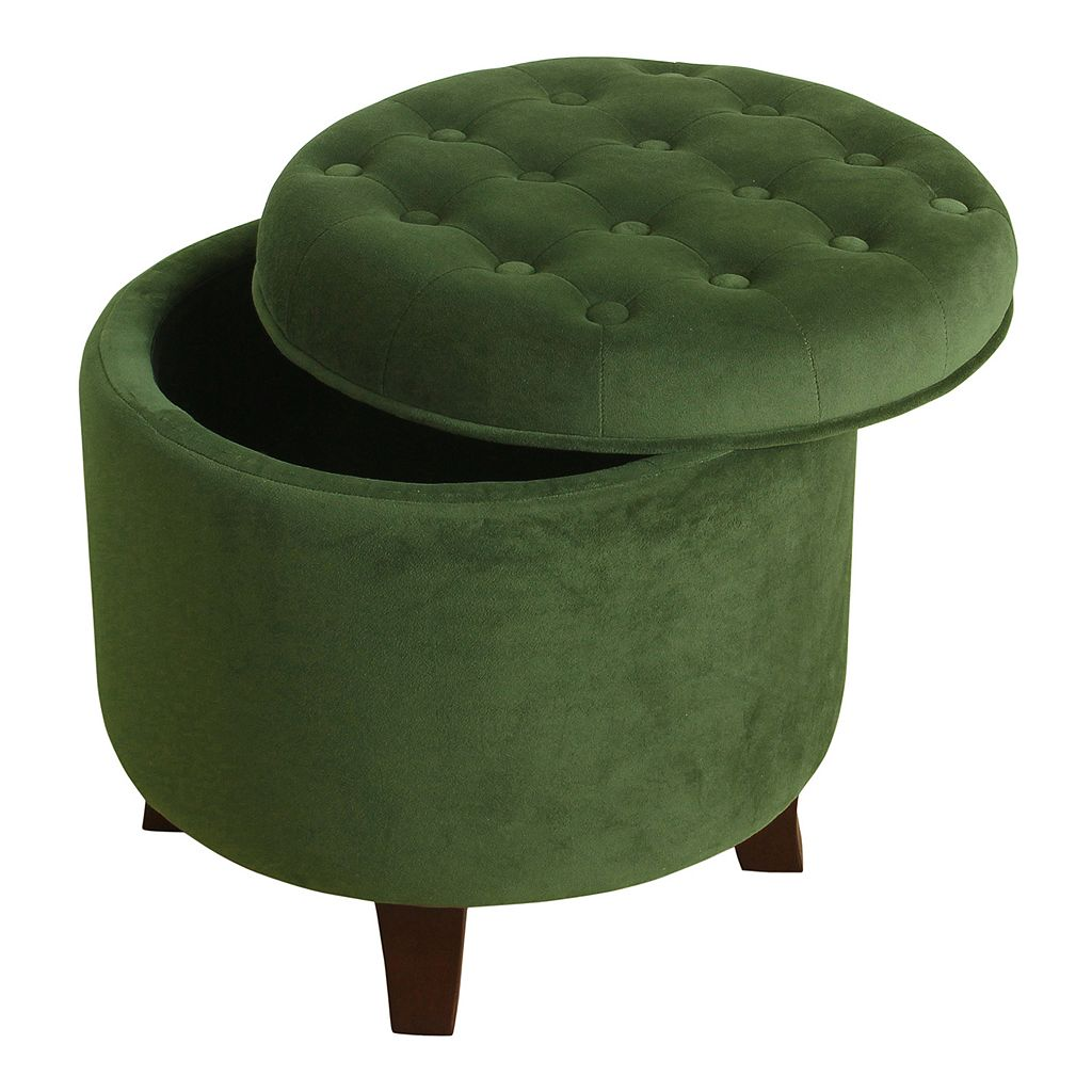HomePop Round Velvet Storage Ottoman