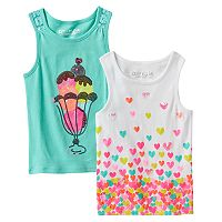 Toddler Girl Freestyle Revolution 2-pk. Sequin Ice Cream Cone Tank Top & Sequin Hearts Tank Top