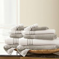 Pacific Coast Textiles 12 pc Quick Dry Stripe Towel Set
