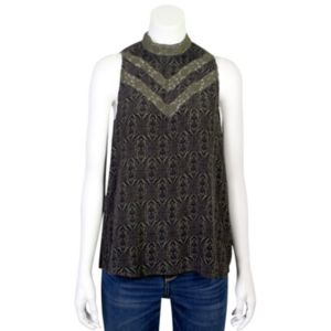 Juniors' Grayson Threads Mockneck Lace Tank
