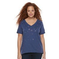Plus Size Rock & Republic® Burnout Star Boyfriend Tee