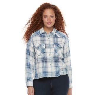 Plus Size Rock & Republic® Raw-Edge Plaid Shirt