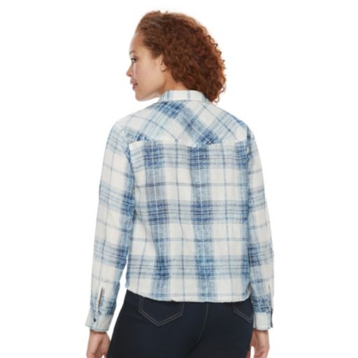 Plus Size Rock & Republic® Raw-Edge Plaid Shirt