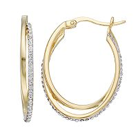 Sterling 'N' Ice 14k Gold Over Silver Crossover Crystal Hoop Earrings