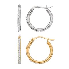 Sterling 'N' Ice Crystal Hoop Earring Set