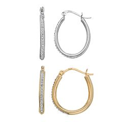 Sterling 'N' Ice Sterling Silver Crystal Hoop Earring Set