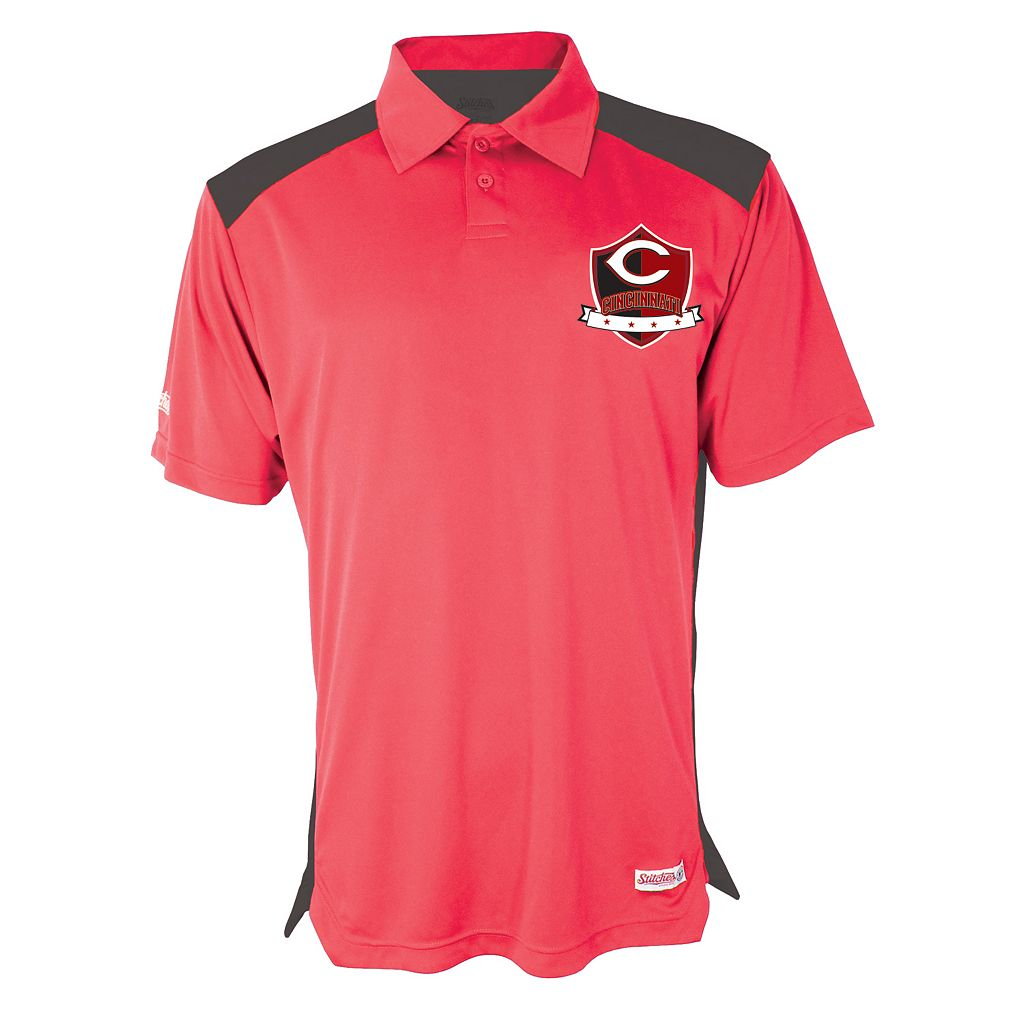 Men's Stitches Cincinnati Reds Interlock Polo