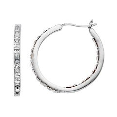 Sterling 'N' Ice Sterling Silver Inside Out Hoop Earrings