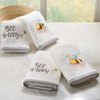 HipStyle 4-pack Buzzin' Bee Embroidered Towel