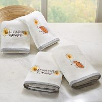 HipStyle 4-pack Happy Hedgehog Embroidered Towel