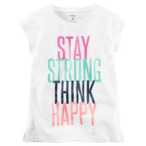 "Girls 4-8 Carter's ""Stay Strong Think Happy"" Tee"