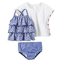 Baby Girl Carter's Tiered Tankini, Print Bikini Bottoms & Gauze Cover-Up Set