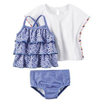 Baby Girl Carter's Tiered Tankini, Print Bikini Bottoms & Gauze Cover-Up Set