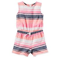 Baby Girl Carter's Striped Linen-Blend Romper