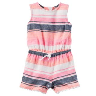 Baby Girl Carter's Striped Linen-Blend Romper