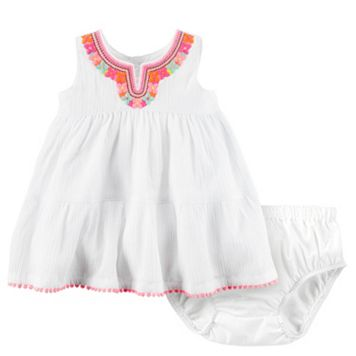 Baby Girl Carter's Embroidered Gauze Dress