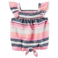 Baby Girl Carter's Striped Linen-Blend Top