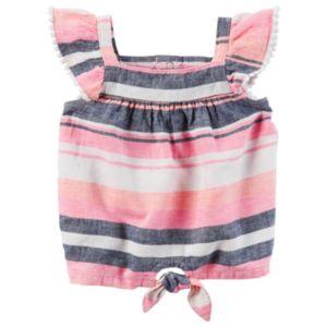 Baby Girl Carter's Striped Linen-Blend Top