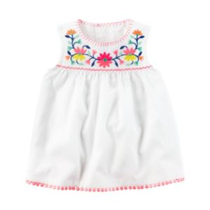 Baby Girl Carter's Embroidered Pom-Trim Tank Top