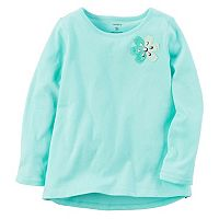 Girls 4-8 Carter's Long Sleeve Two-Tone Flower Embellished Tee