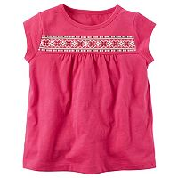 Toddler Girl Carter's Puff-Print Yoke Cutout Top