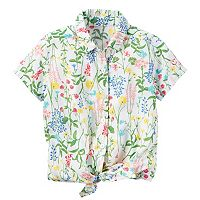 Toddler Girl Carter's Floral Button-Down & Tie Front Top