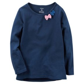 Toddler Girl Carter's Long Sleeve Tulle Bow Embellished Tee