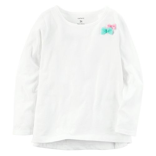 Girls 4-8 Carter's Long Sleeve Tulle Bow Embellished Tee