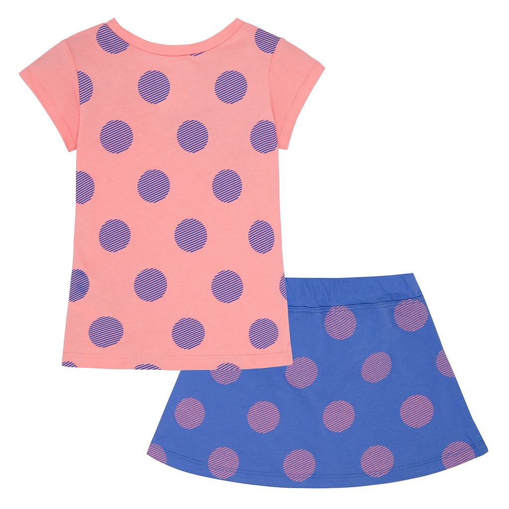Toddler Girl Nike Swoosh Print Tee & Polka-Dot Skort Set