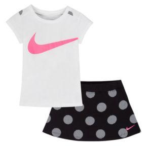 Toddler Girl Nike Swoosh Print Tee & Polka-Dot Skort Set