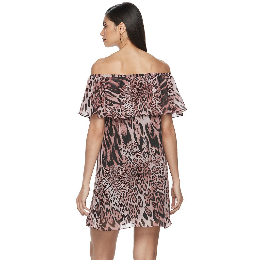 Women's Jennifer Lopez Off-the-Shoulder Ruffle Shift Dress