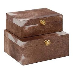Decorative Brown Faux-Leather Box Table Decor 2 pc Set