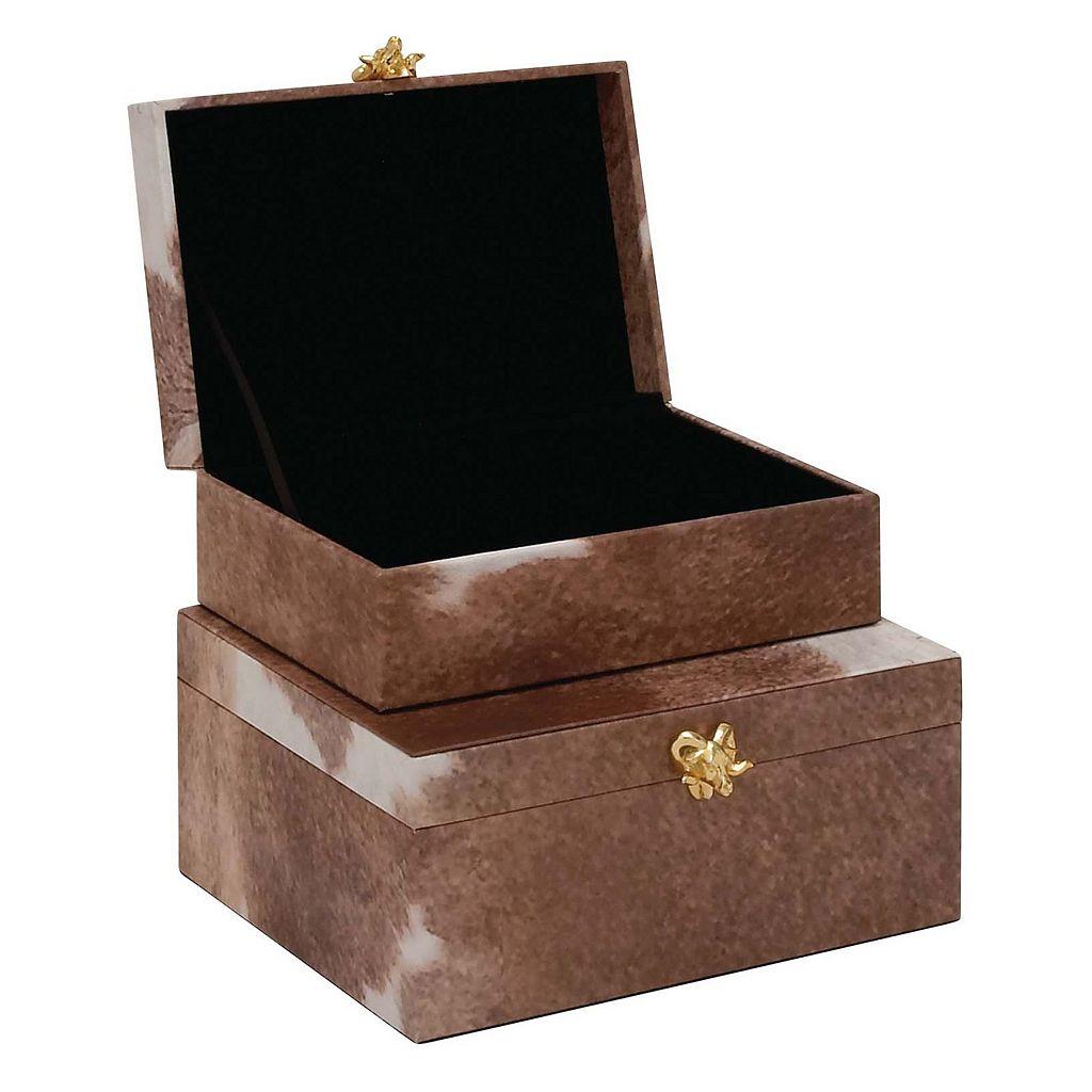 Decorative Brown Faux-Leather Box Table Decor 2-piece Set